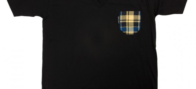 Ball and Buck Pocket Tee – Black V-Neck with Yellow/Blue Plaid